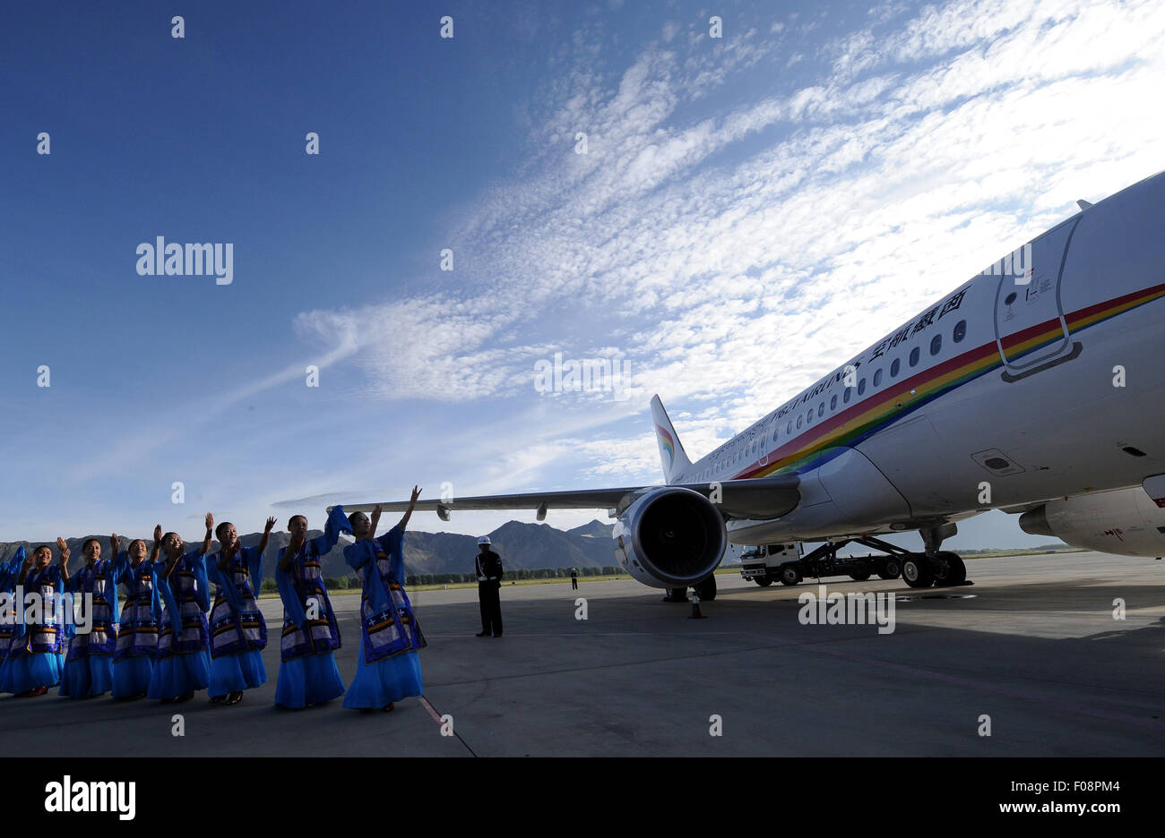 (150810) -- LHASA, Aug. 10, 2015 (Xinhua) -- Photo taken on July 26, 2011 shows the inaugural flight ceremony of - Stock Image
