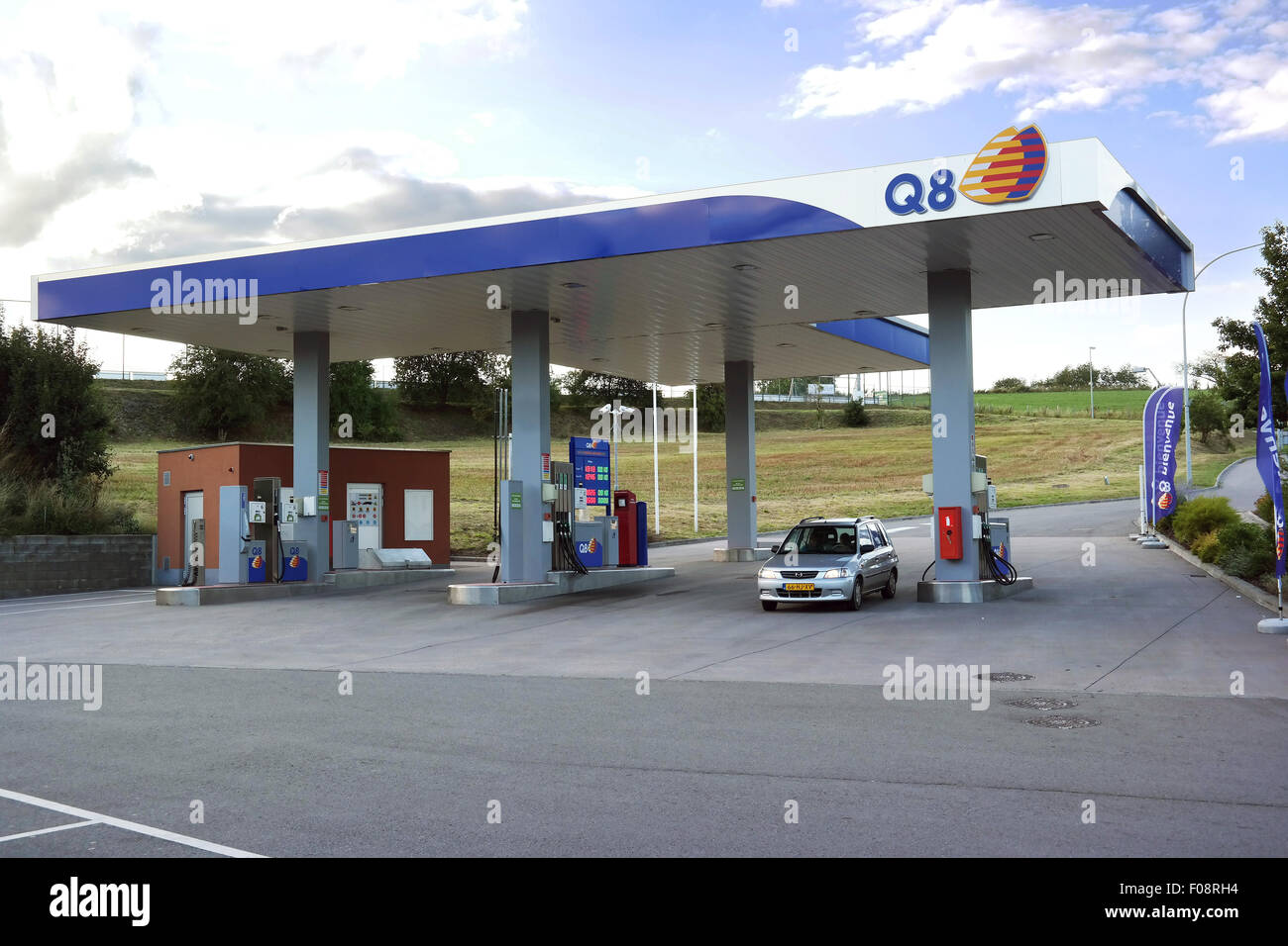 Q8 gas station in Luxembourg.  Fuel prices in Luxembourg are significantly lower than in neighboring countries - Stock Image