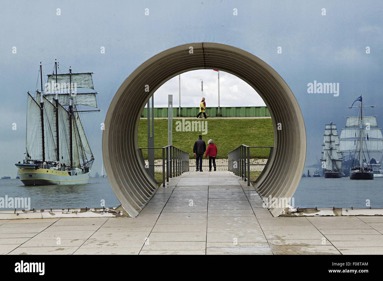 Rear view of person at Schiffahrtsmuseum passage, Bremerhaven, Germany Stock Photo