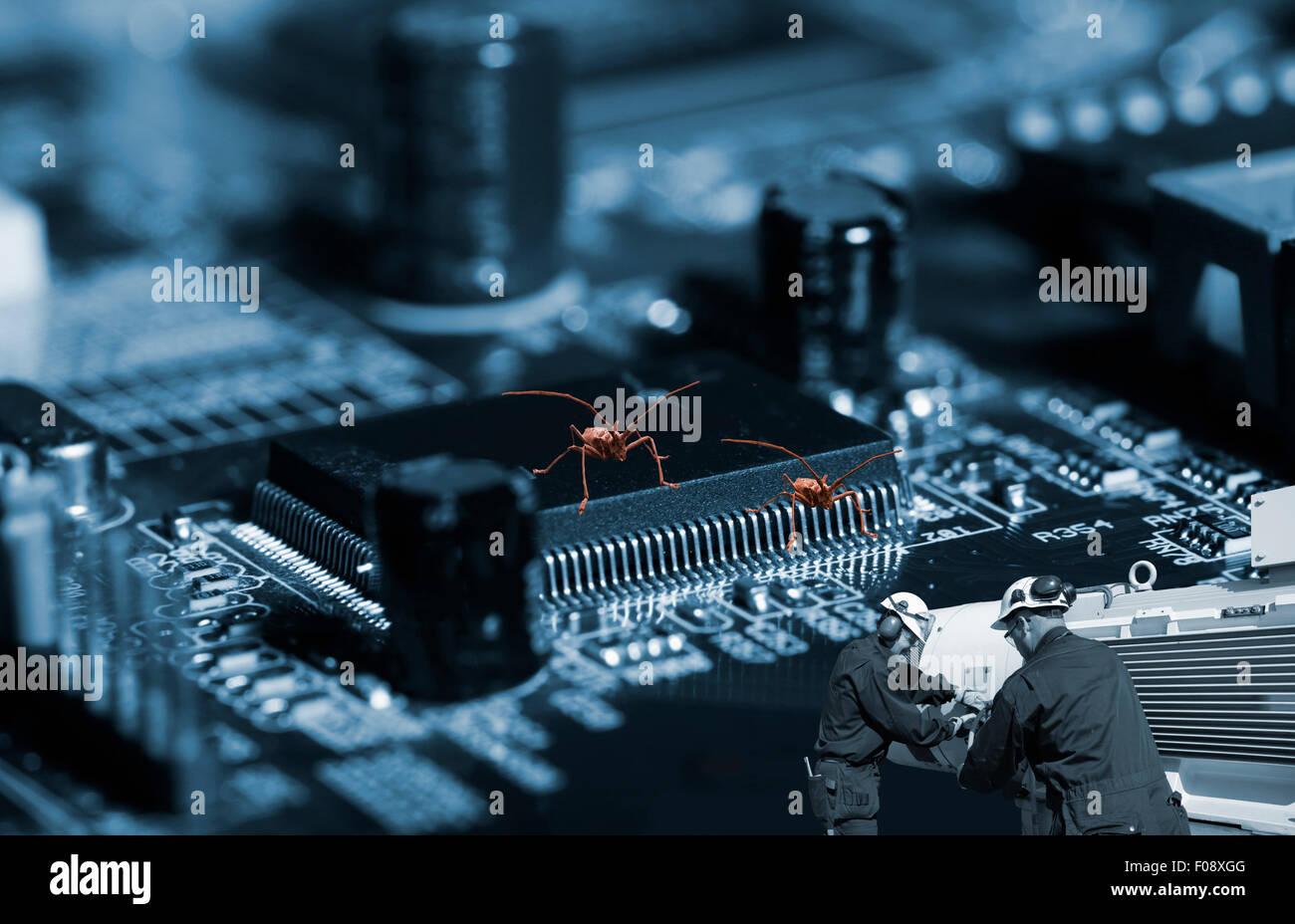 technicians fighting computer bugs, viruses - Stock Image