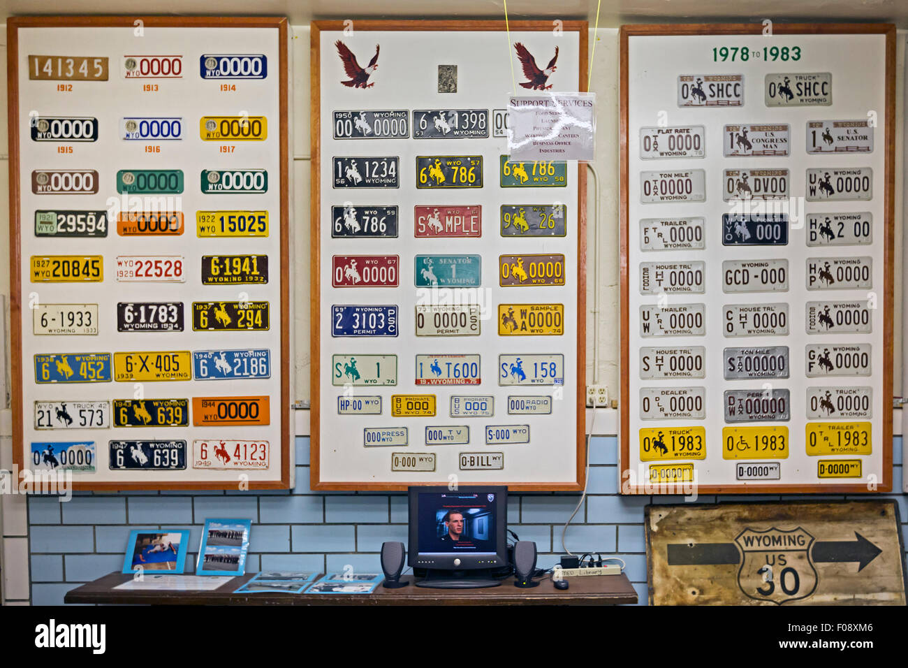 Rawlins, Wyoming - A display of license plates manufactured by inmates at the former Wyoming State Penitentiary. - Stock Image