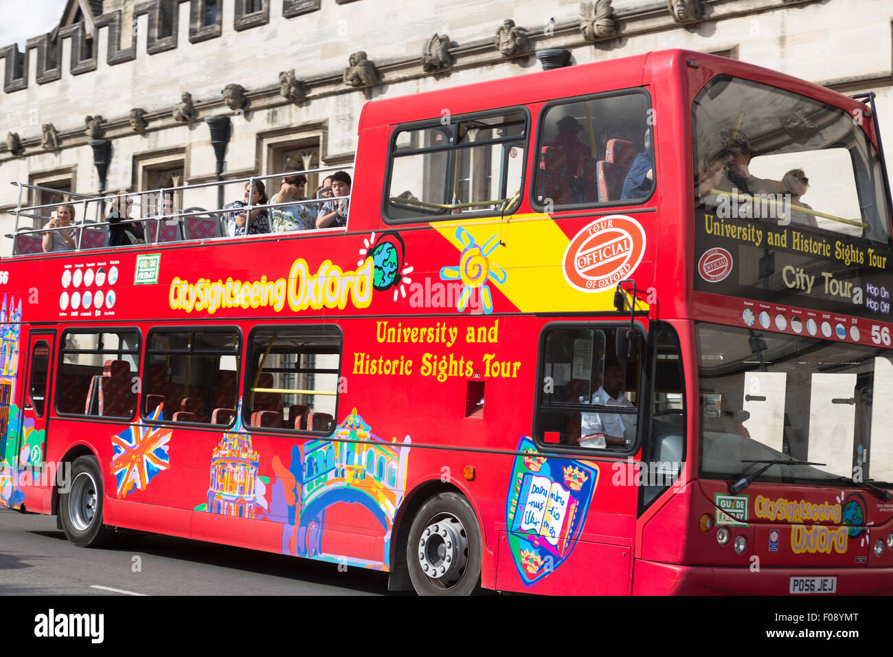 UK, Oxford, tourist siteseeing bus. - Stock Image
