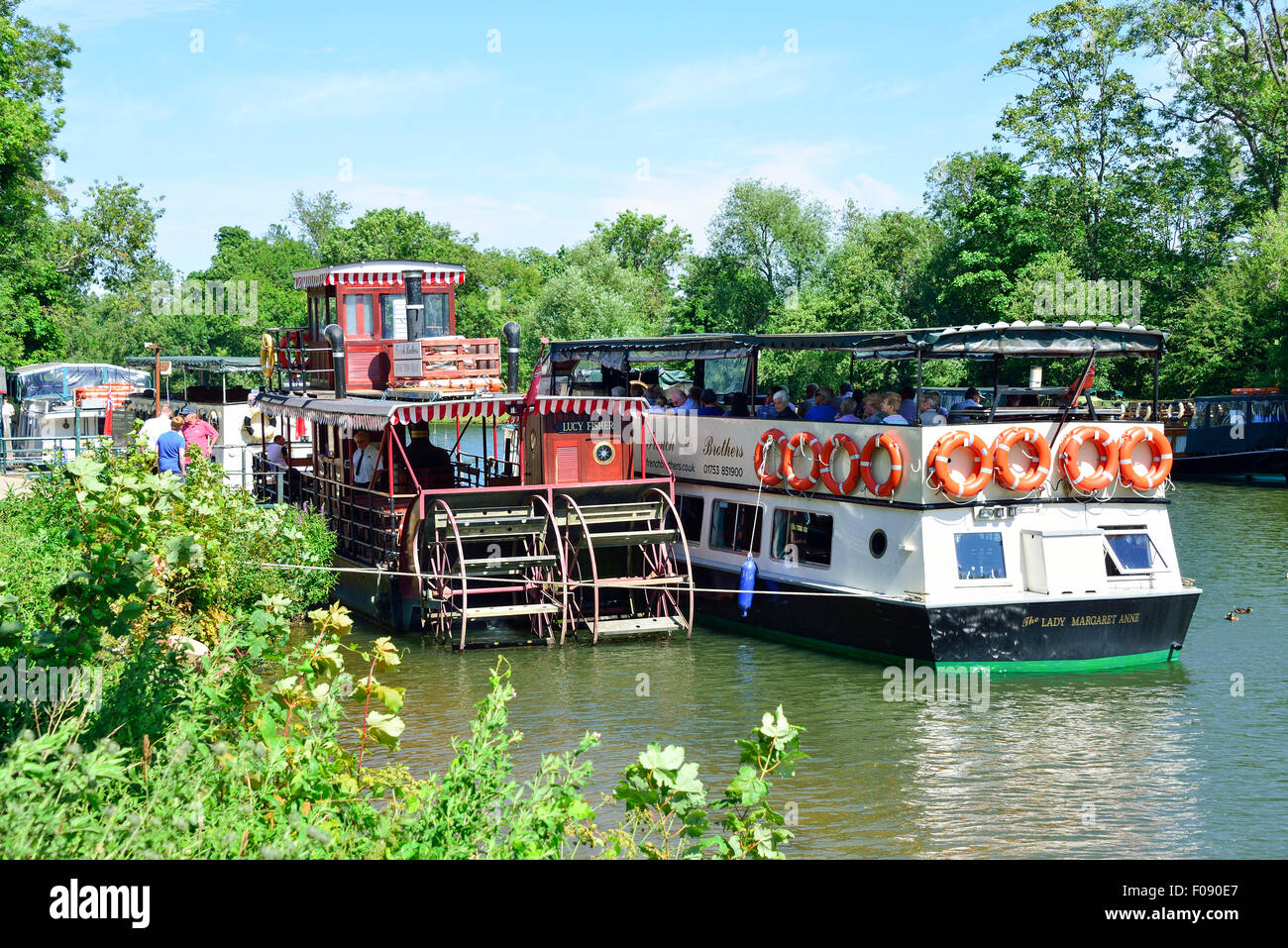 French Brothers River Thames cruise boats, Runnymede, Surrey, England, United Kingdom - Stock Image