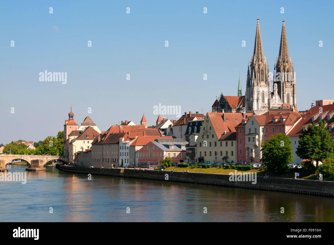 Cityscape Regensburg in Bavaria, Germany at evening Stock Photo