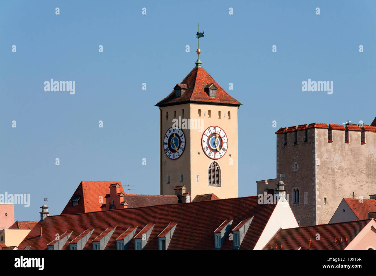 Tower of town hall in Regensburg, Bavaria, Germany and free space - Stock Image