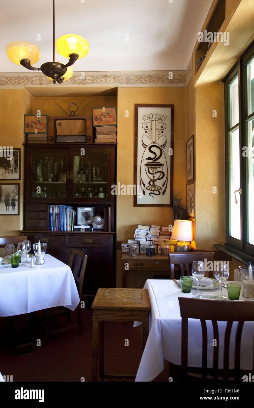 Interior of il gatto nero restaurant in cernobbio como lombardy italy