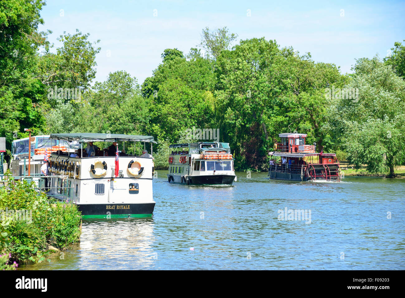 French Brothers cruise boats on River Thames, Runnymede, Surrey, England, United Kingdom - Stock Image