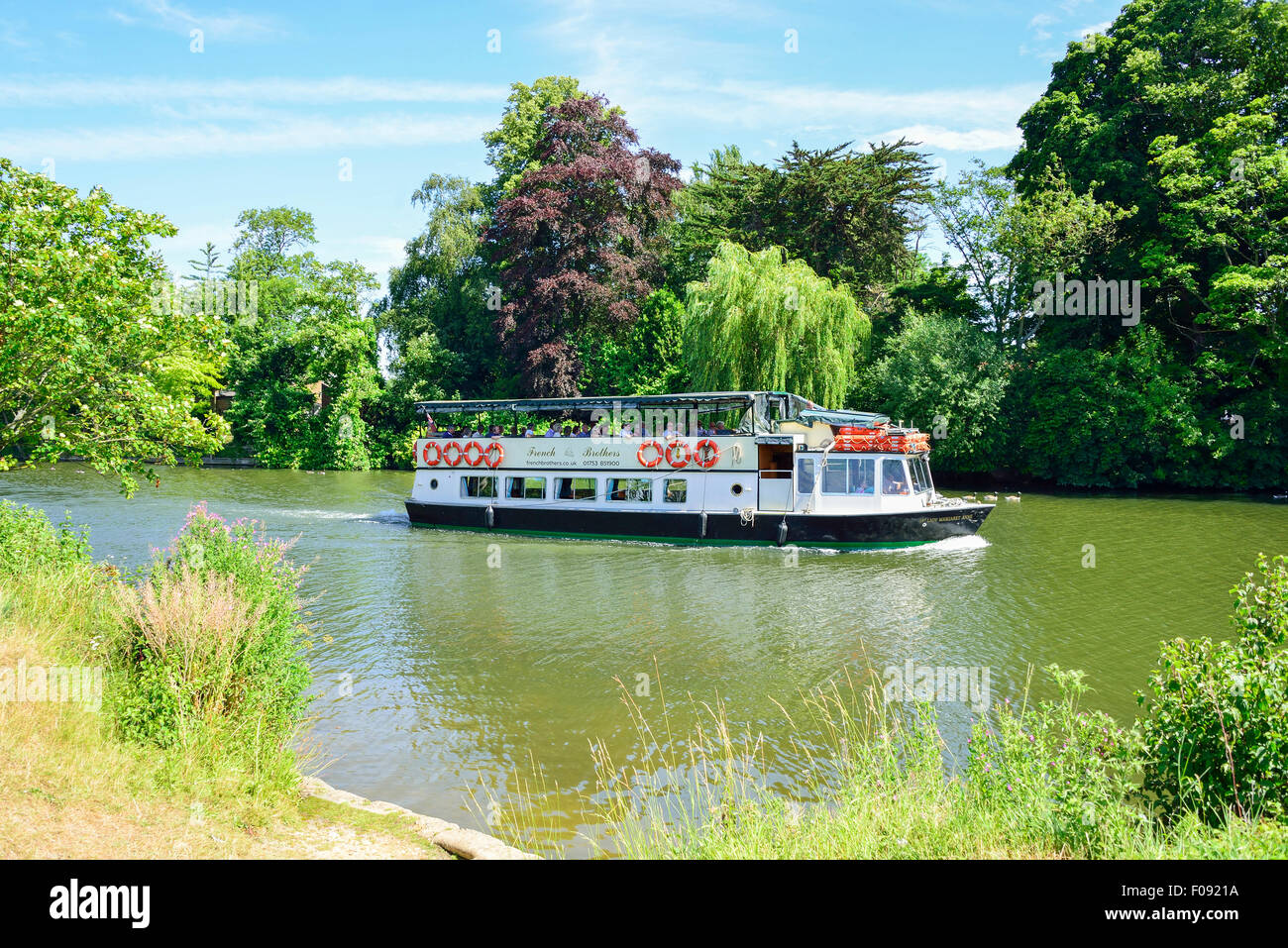 French Brothers 'Lady Margaret Anne' cruise boat on River Thames, Runnymede, Surrey, England, United Kingdom - Stock Image