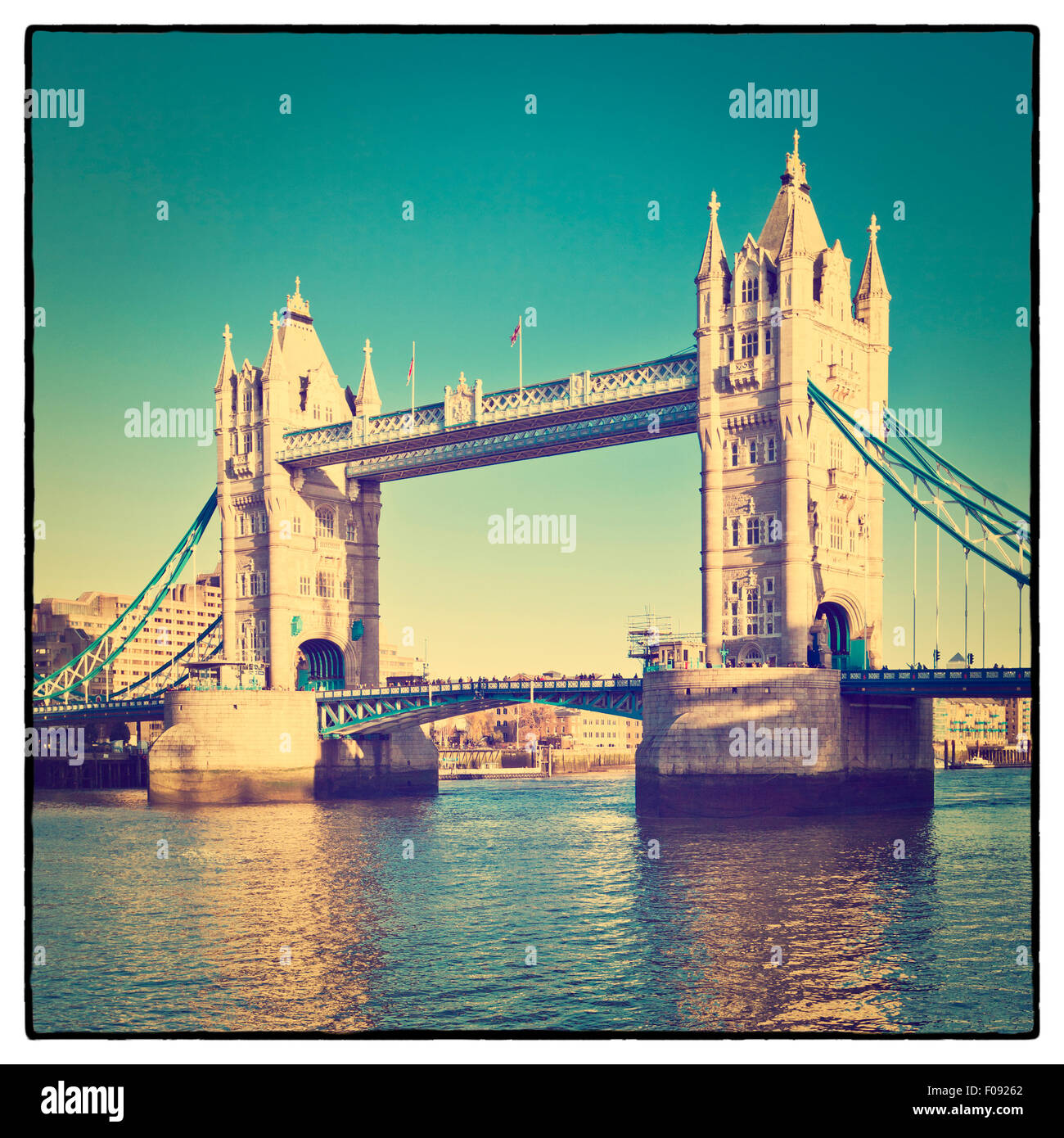 Tower Bridge in London with Instagram effect filter - Stock Image