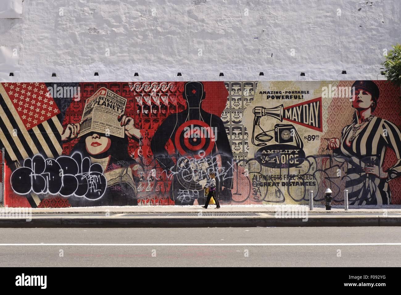 Street art on houston street new york stock image