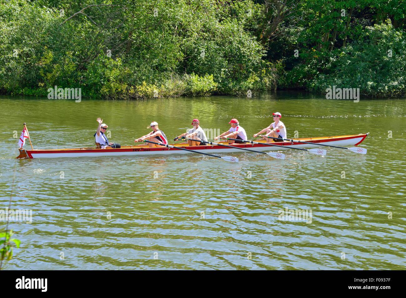 Rowing boat on River Thames, Runnymede, Surrey, England, United Kingdom - Stock Image