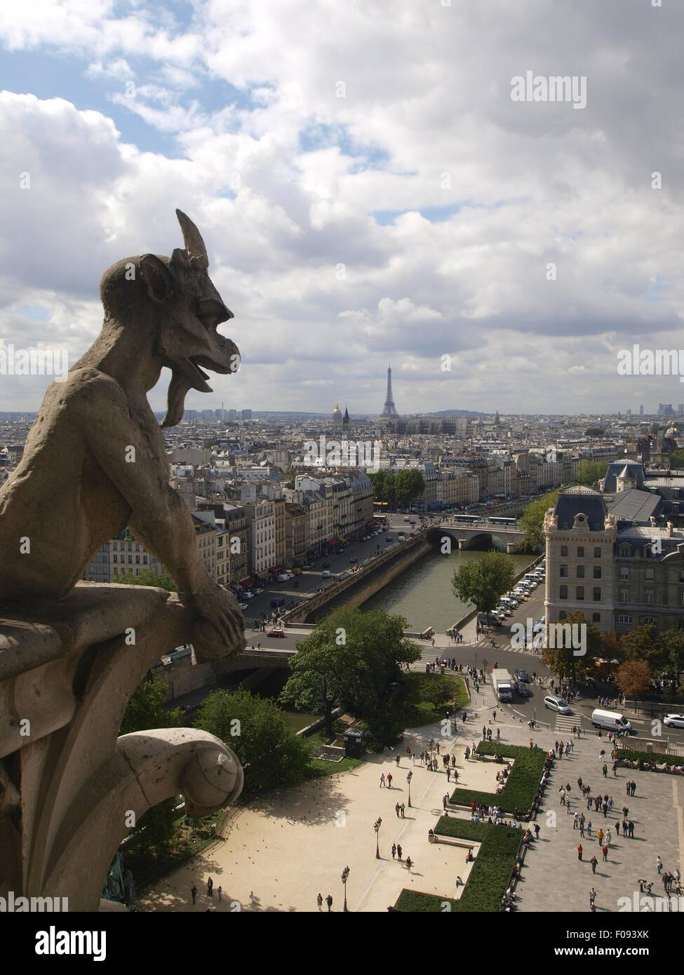 Mythical creatures of Notre-Dame against cityscape of Paris, France - Stock Image