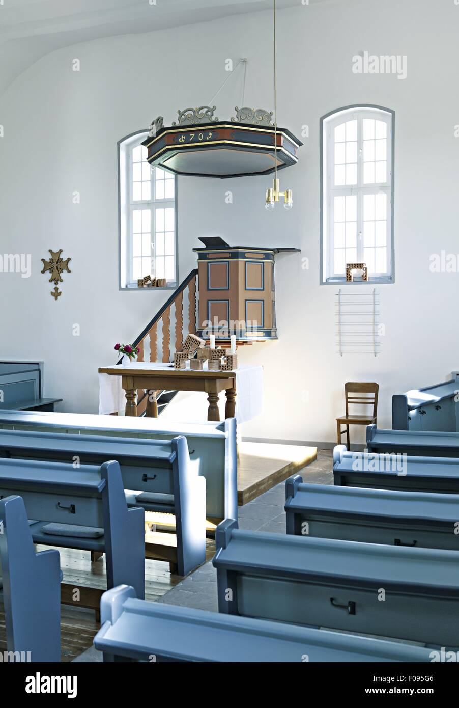 Interior of Huguenot Church in Kelze village, Hesse, Germany - Stock Image