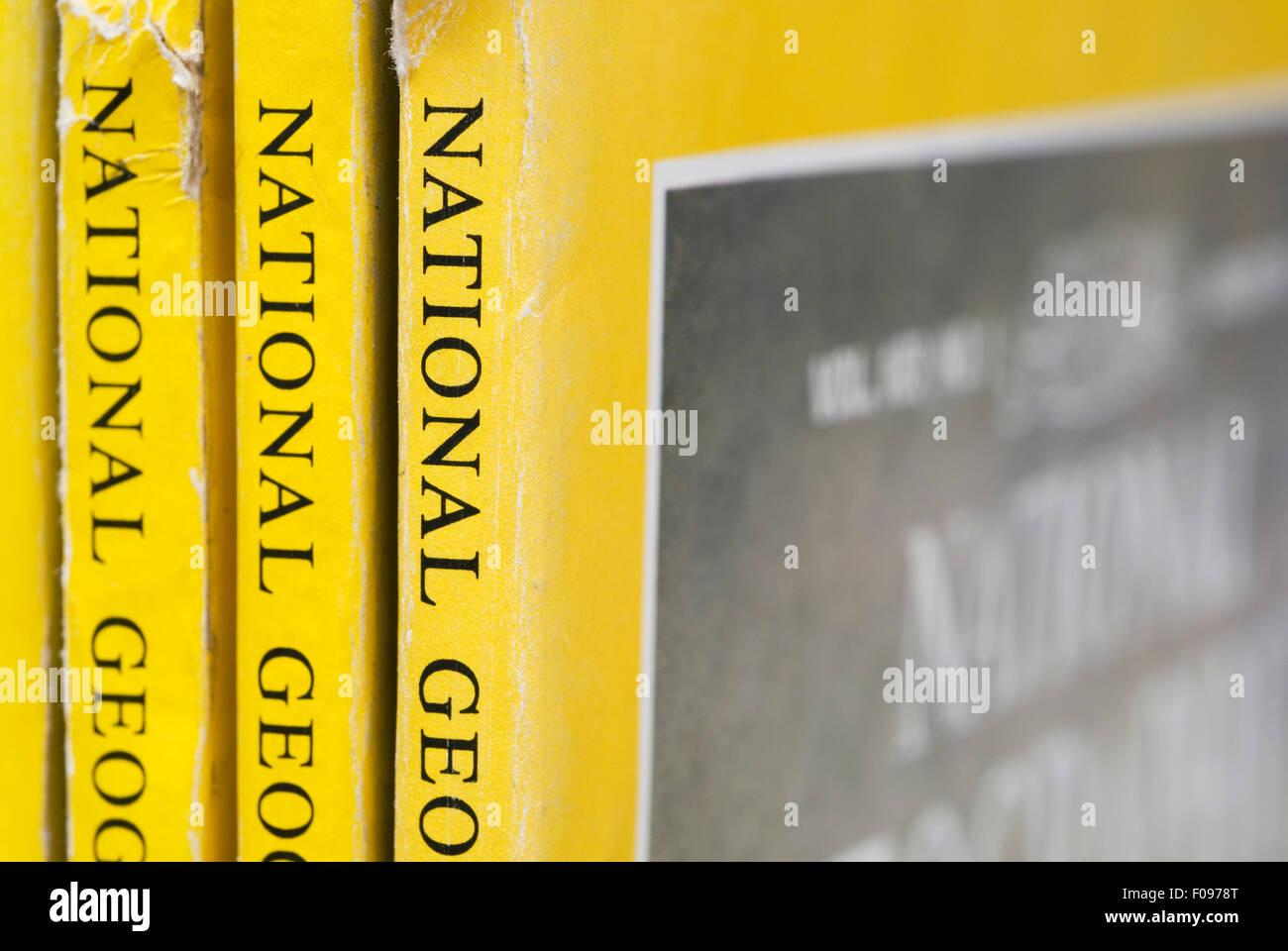 old National Geographic magazines - Stock Image