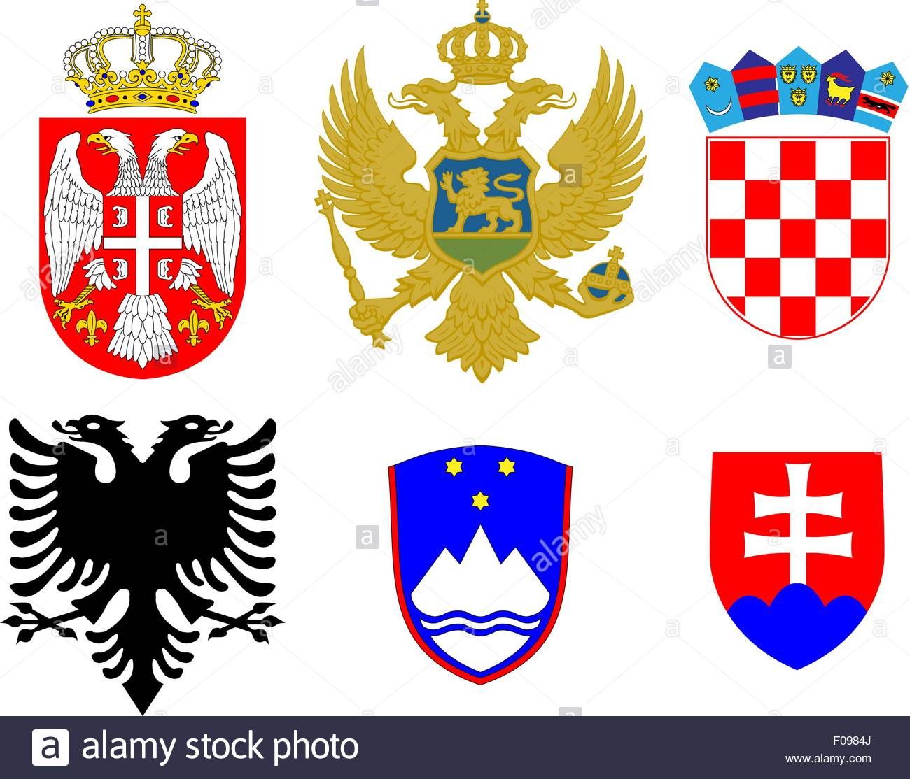 Coats of Arms of European Flags 2 - Stock Image
