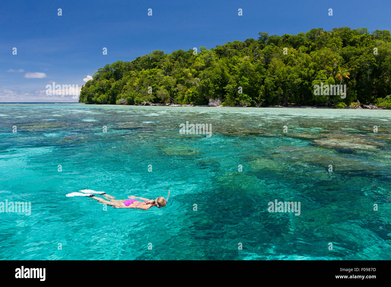 Snorkeling at Solomon Islands, Marovo Lagoon, Solomon Islands - Stock Image