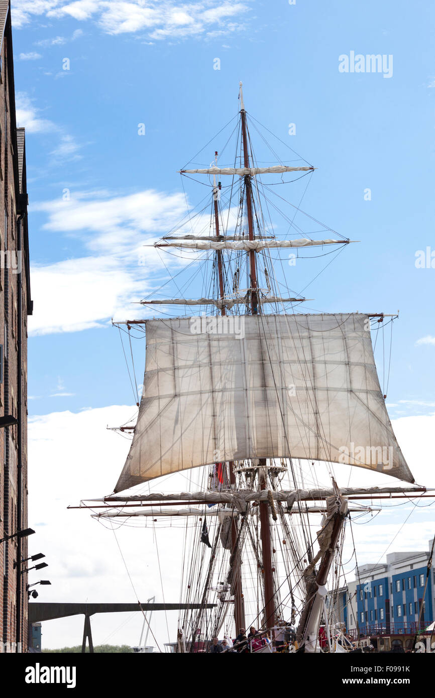 The Dutch ship 'Morgenster' at the Gloucester Tall Ships Festival 2015 in Gloucester Docks UK - Stock Image
