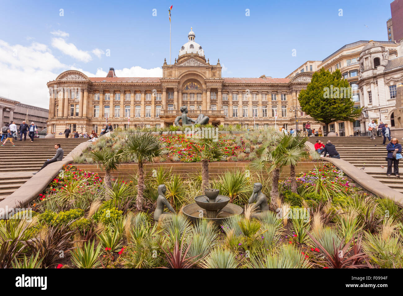 Foreground of the Victoria Square gardens, with the City Council buildings, Birmingham UK - Stock Image