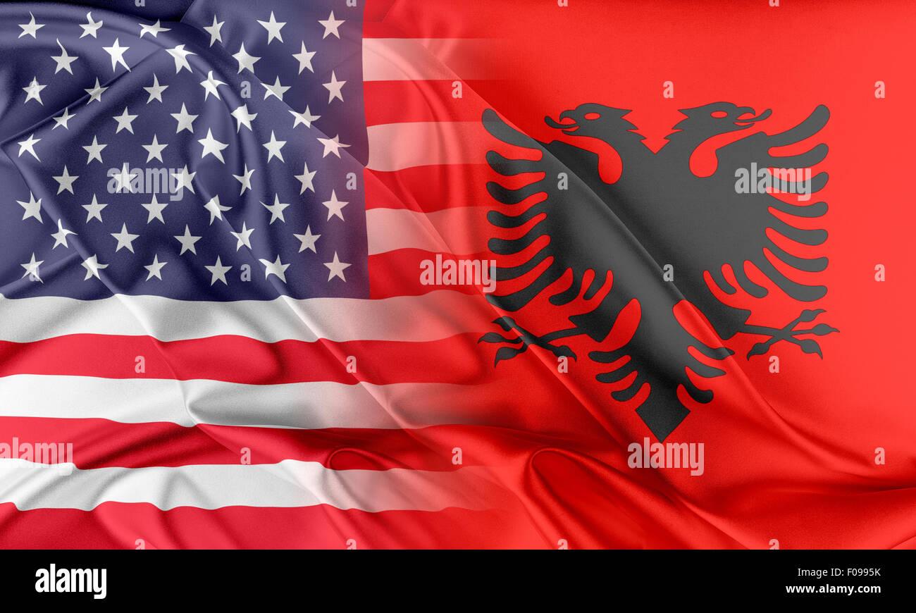USA and Albania - Stock Image