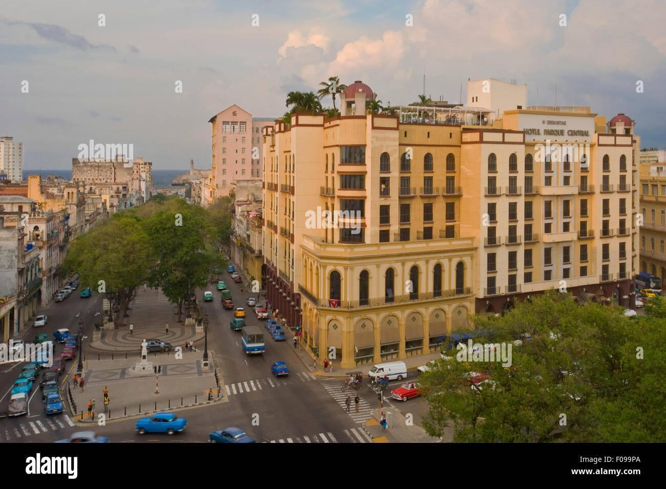 Horizontal aerial street view in Havana, Cuba. Stock Photo