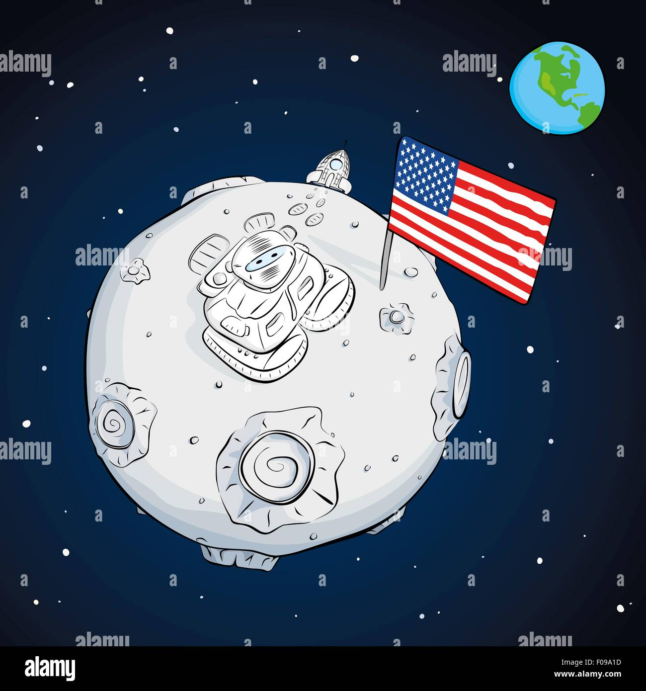 astronaut with flag USA on the moon loocking up - Stock Vector