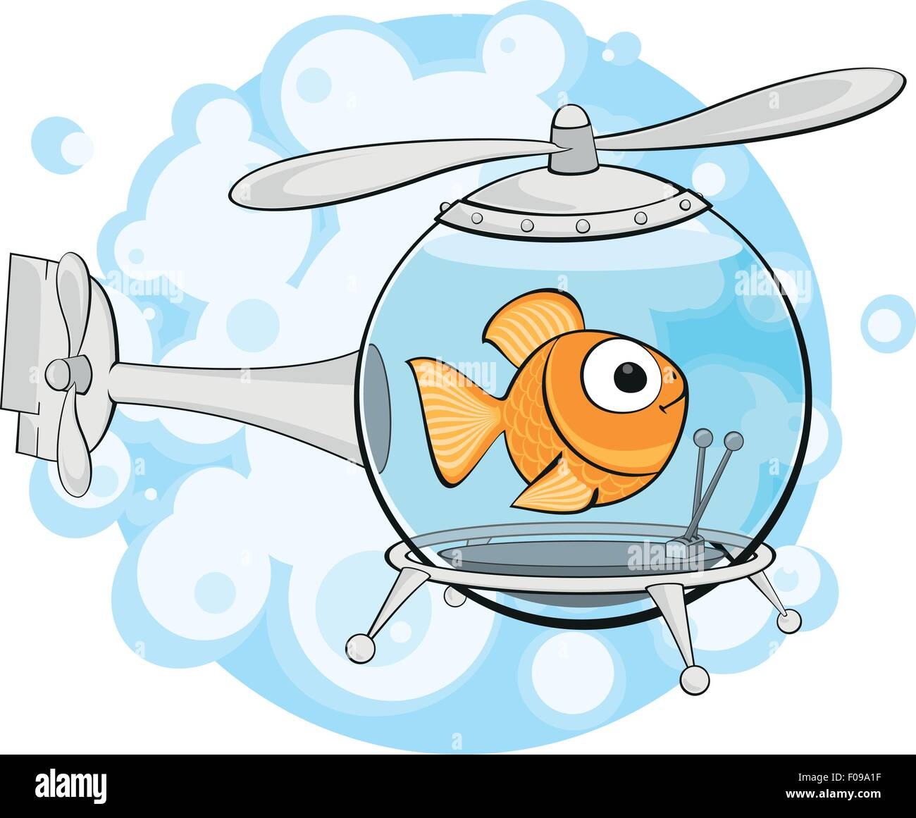 gold fish in helicopter - Stock Vector