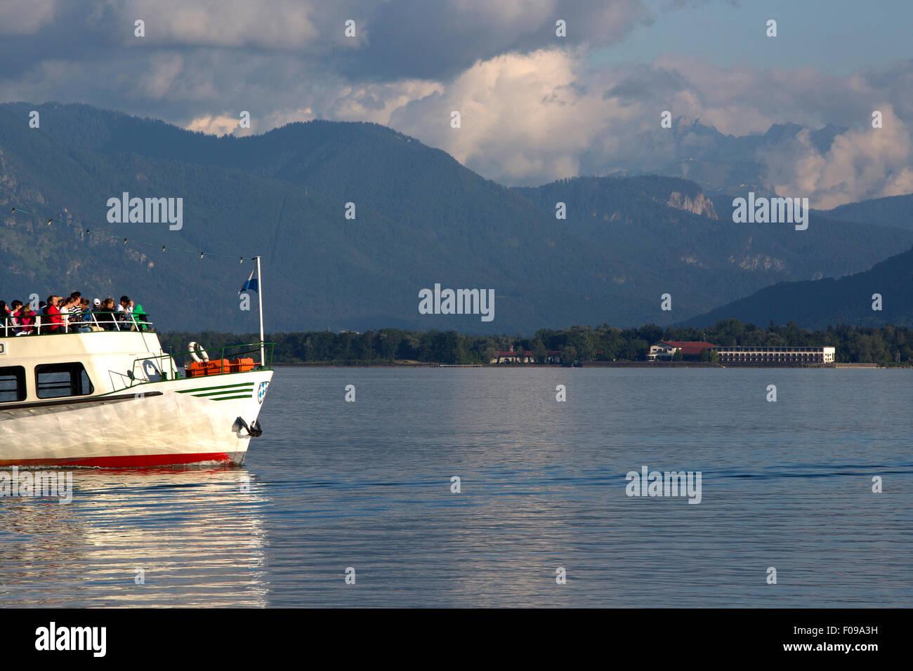 Steamship at lake Chiemsee in Bavaria, South Germany - Stock Image