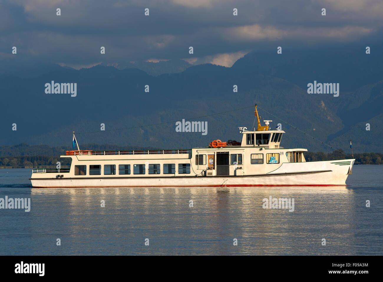 Steamship at lake Chiemsee in Bavaria, South Germany Stock Photo