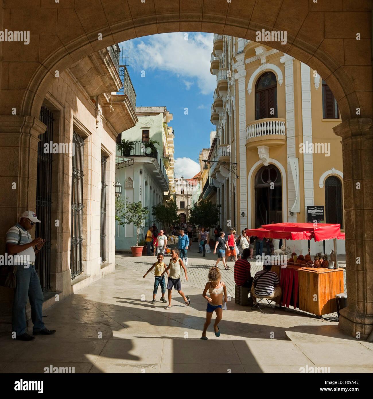 Square streetview in Havana, Cuba. - Stock Image