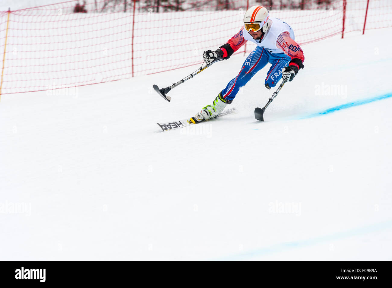 An amputee racing downhill in a giant slalom race - Stock Image