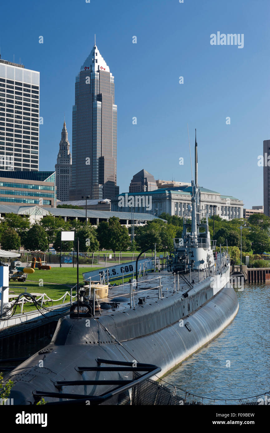 Downtown cleveland ohio usa stock photos downtown cleveland ohio uss cod memorial lake erie waterfront downtown cleveland ohio usa stock image publicscrutiny Images