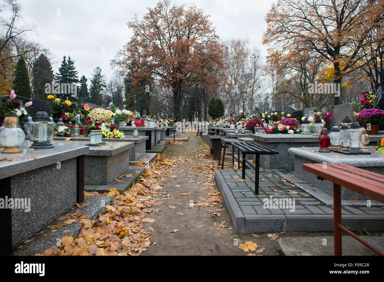 Old cemetery in the Polish town - Stock Image