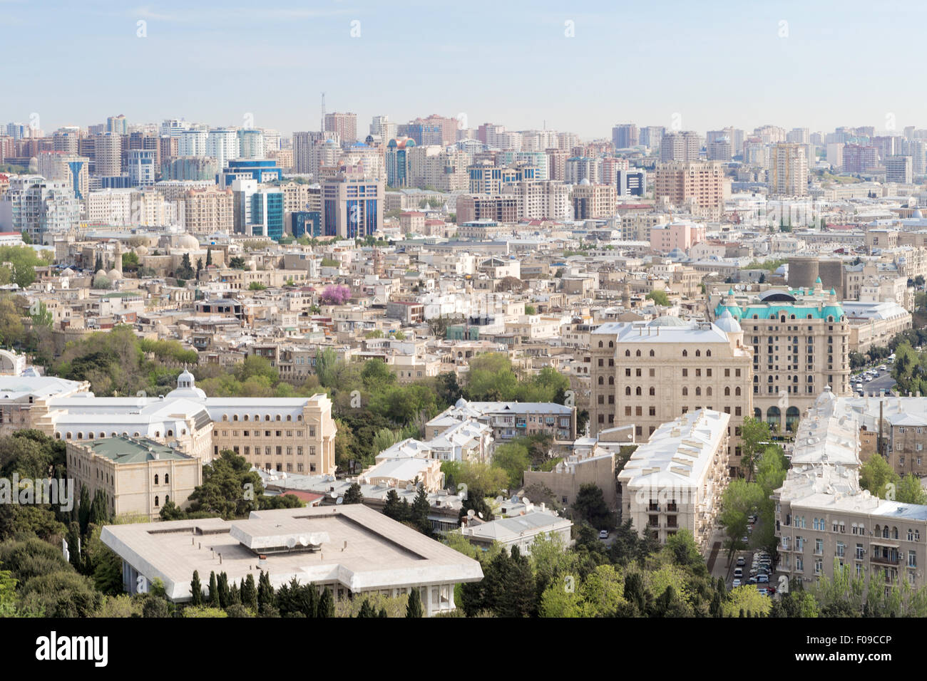 medieval walled Old City Icheri Sheher ,Baku Azerbaijan UNESCO from Martry's Alley - Stock Image