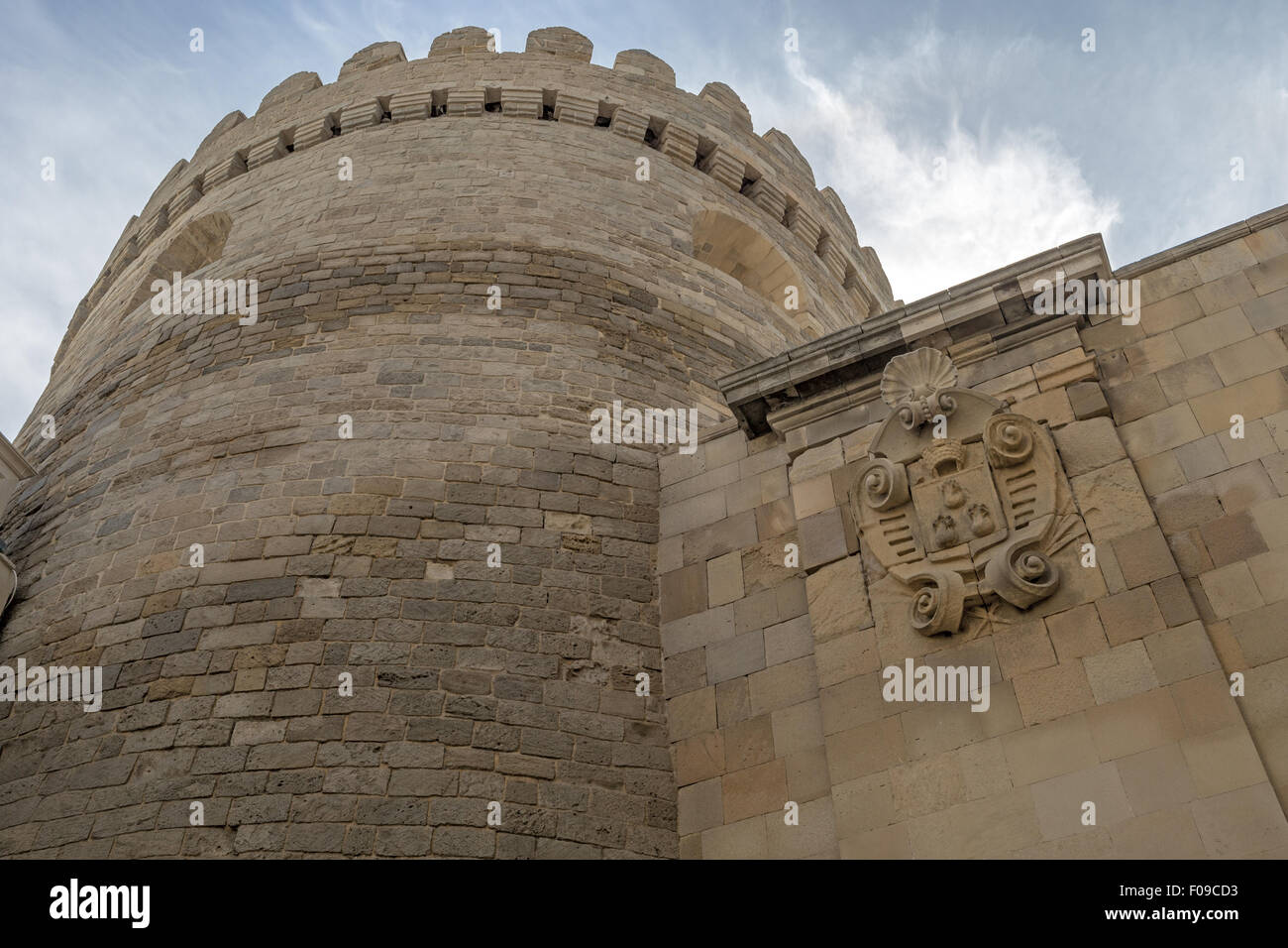 Old City (Icheri Sheher) wall and emblem of Baku, Baku Azerbaijan Stock Photo