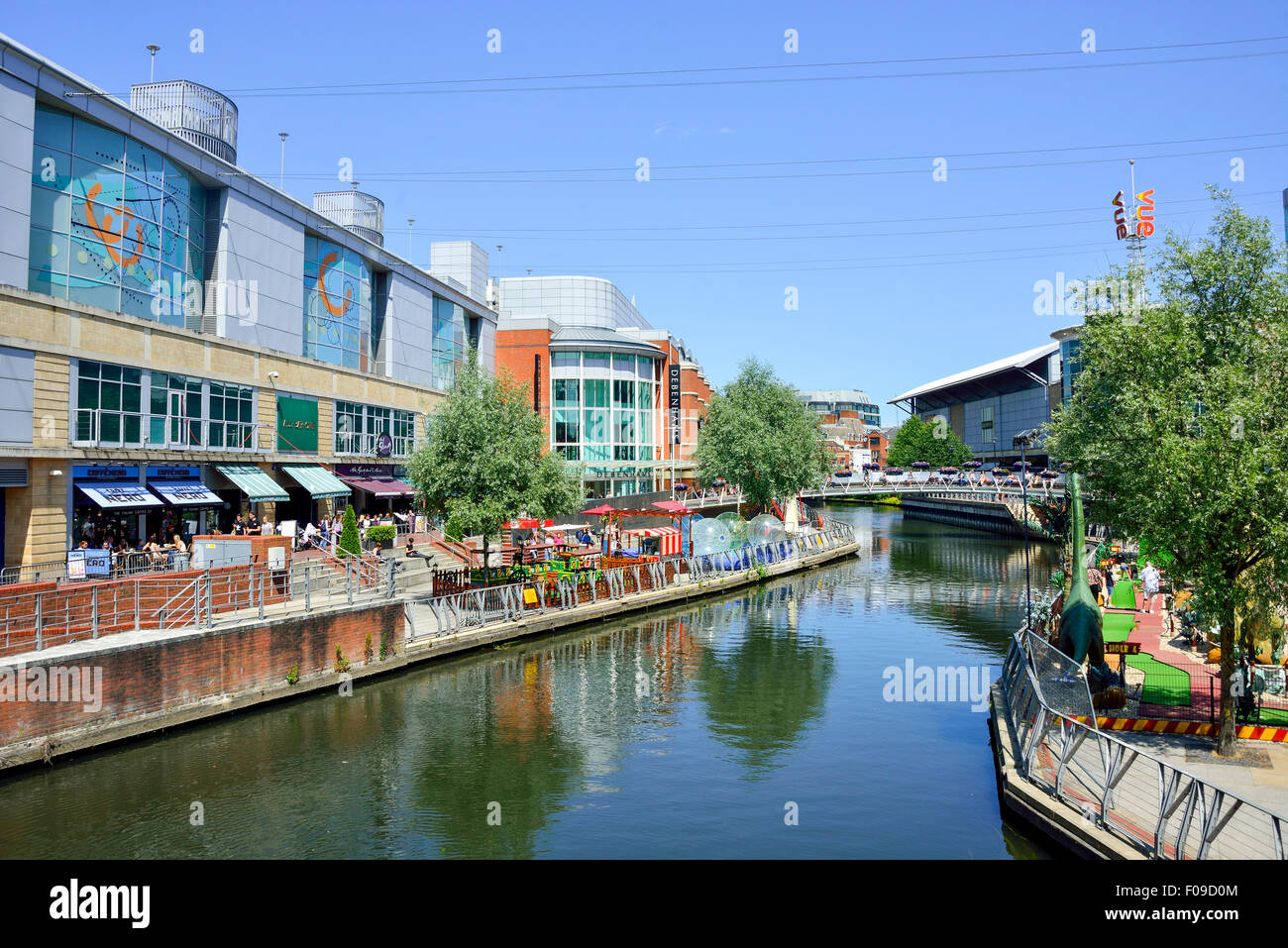 Riverside Level showing Debenhams Department Store, The Oracle Shopping Centre, Reading, Berkshire, England, United - Stock Image