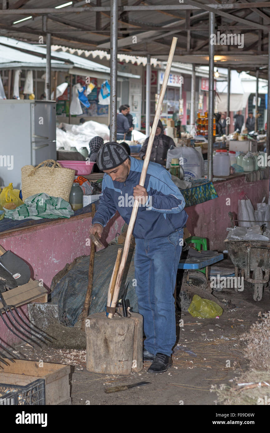 repair scythe Local market Quba Azerbaijan - Stock Image