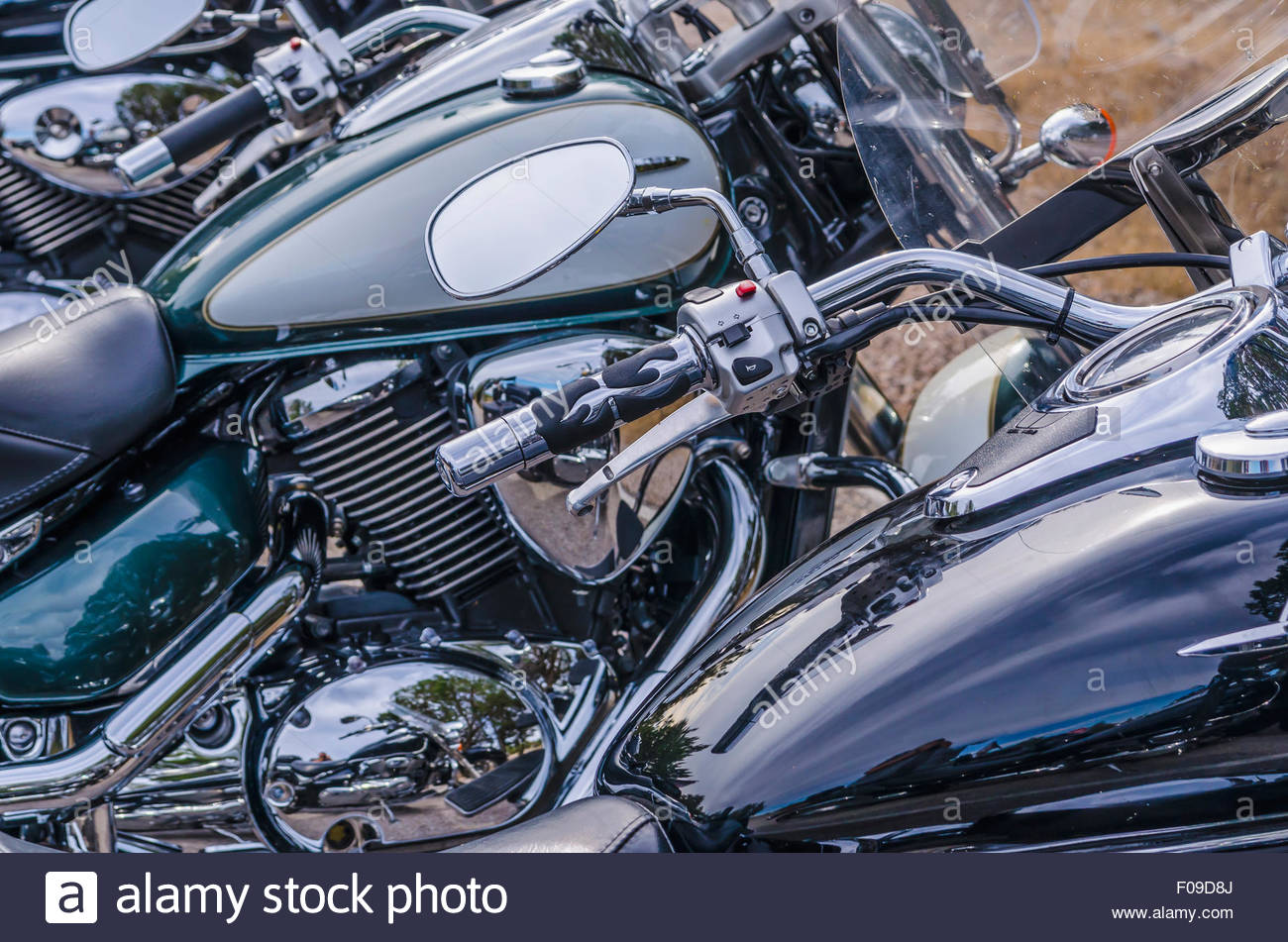Detail of the rear mirror in a parked motorbike - Stock Image