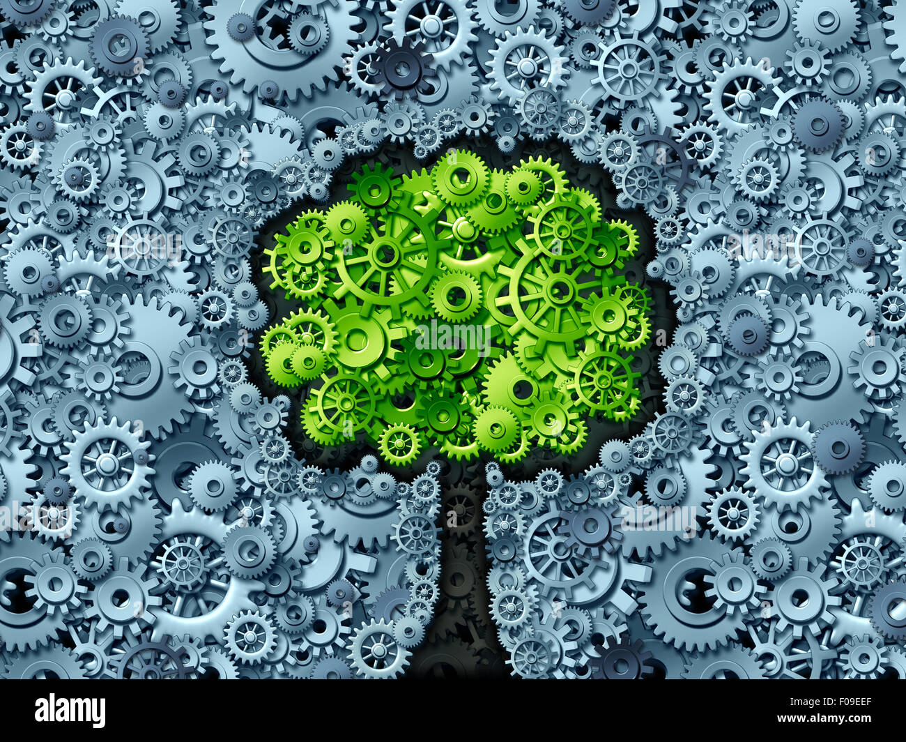 Business tree concept as a symbol for a growing economy and industry represented by machine gears and cog wheels - Stock Image