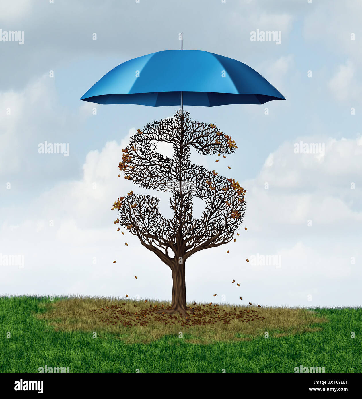 Economic protectionism policy and financial closed trade restrictions as a tree shaped as a money dollar sign losing - Stock Image