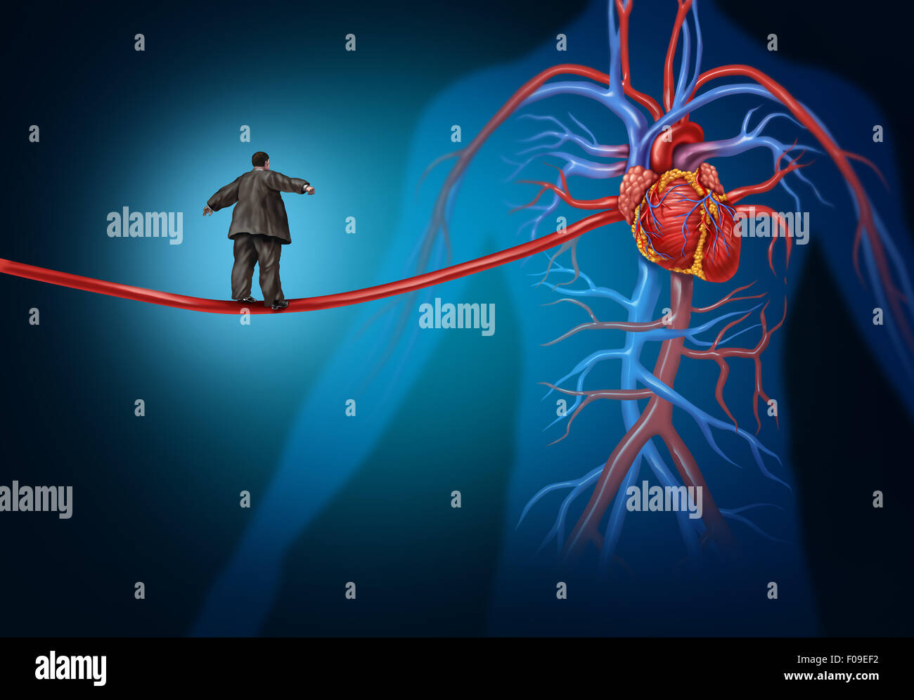 Risk factors for heart disease danger as a medical health care lifestyle concept with an overweight person walking - Stock Image