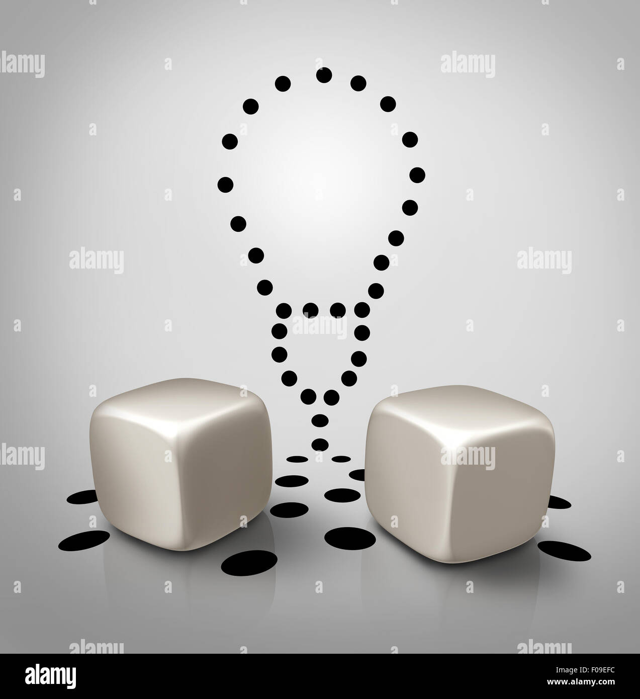 Venture idea and invention icon dice concept with spots in a light bulb shape as a creative business symbol for - Stock Image