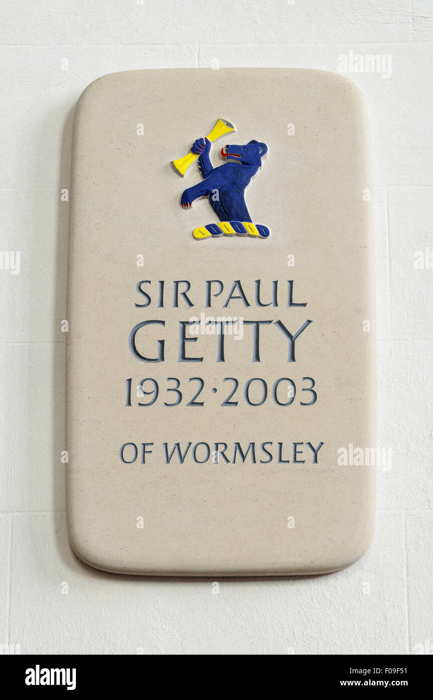 Memorial to Sir Paul Getty of Wormsley. Situated inside St Margarets Church, Lewknor, Oxfordshire, England, UK. Stock Photo