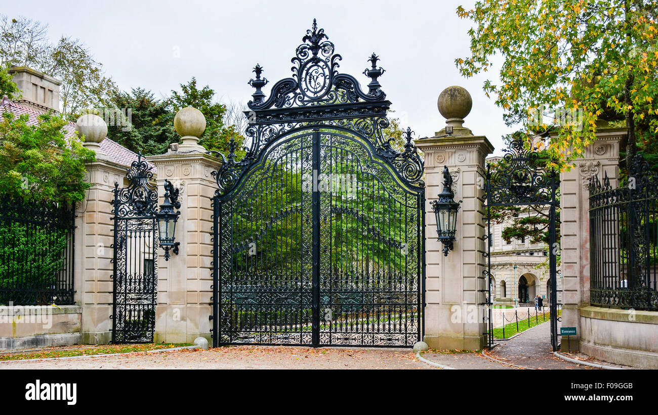 Gate to The Breakers,Newport,Rhode Island - Stock Image