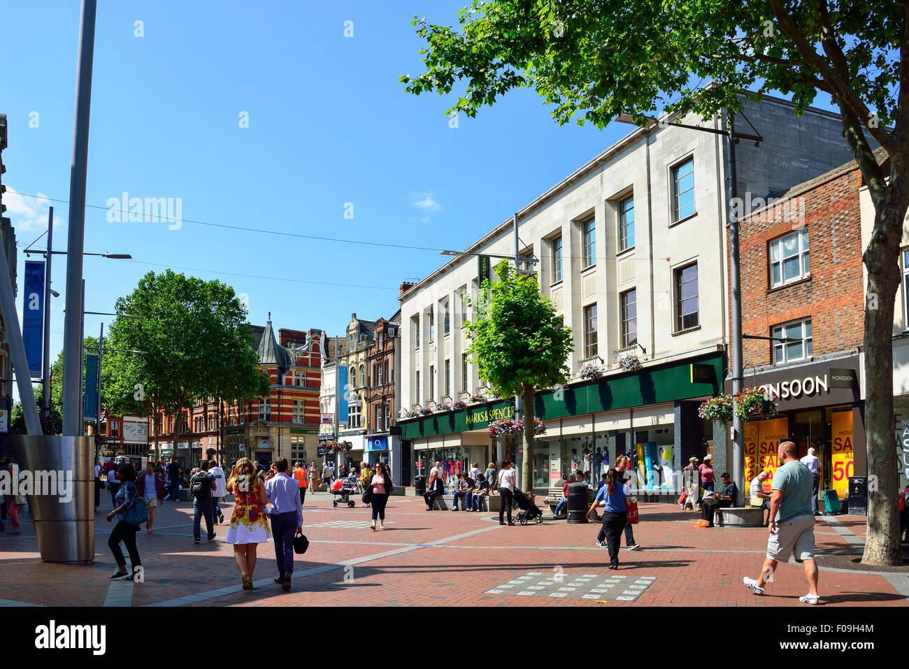 Pedestrianised Broad Street, Reading, Berkshire, England, United Kingdom Stock Photo