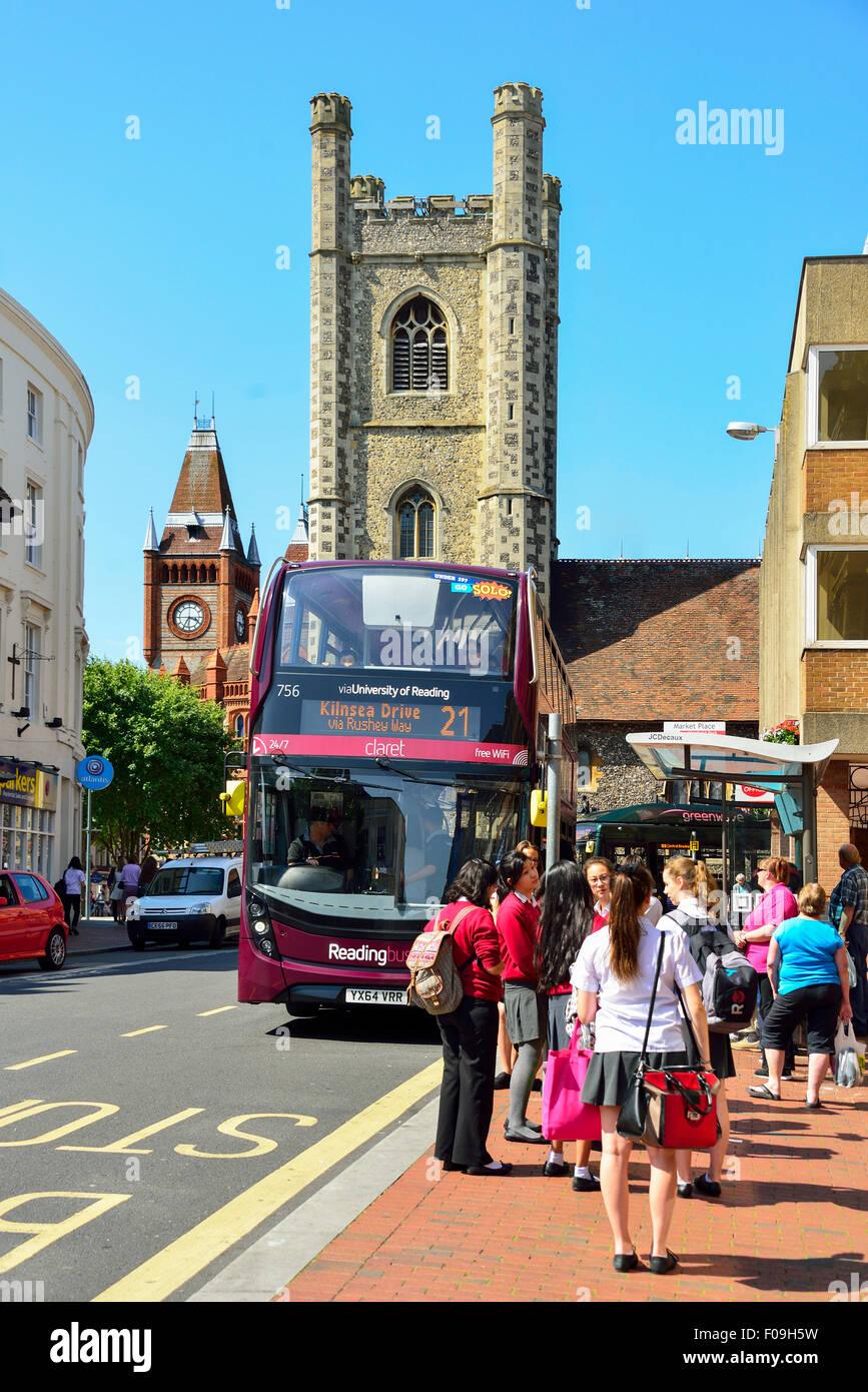 Reading Claret Bus and St Lawrence's Church Tower, High Street, Reading, Berkshire, England, United Kingdom Stock Photo