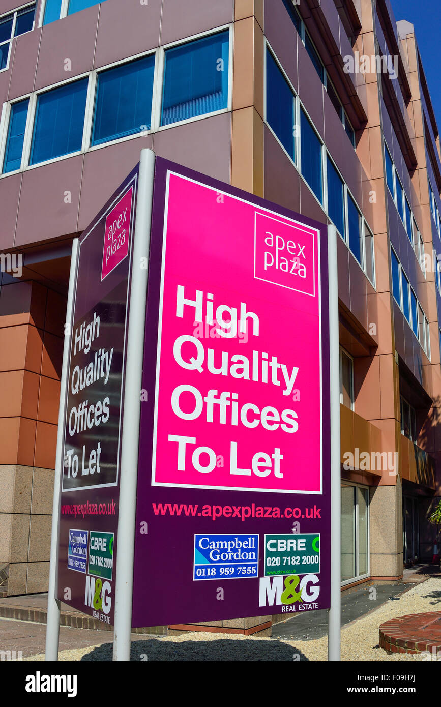 Offices to let sign at Apex Plaza Office Development, Forbury Road, Reading, Berkshire, England, United Kingdom - Stock Image