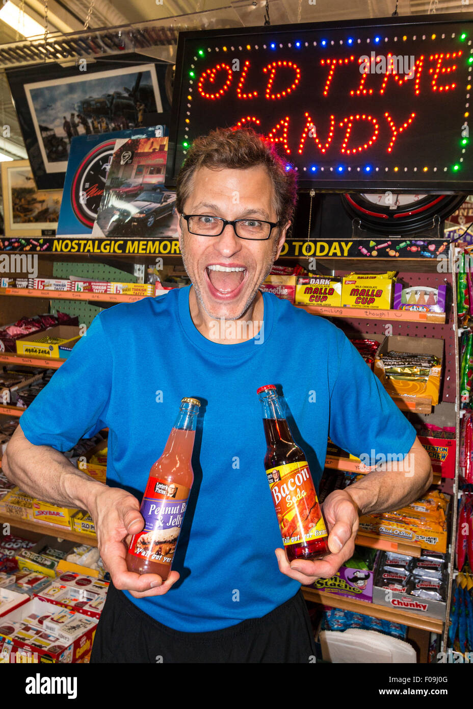 Bacon and peanut butter flavored soda pop sold at Dick's 5 & 10, an 'old time' dime store in Branson, - Stock Image