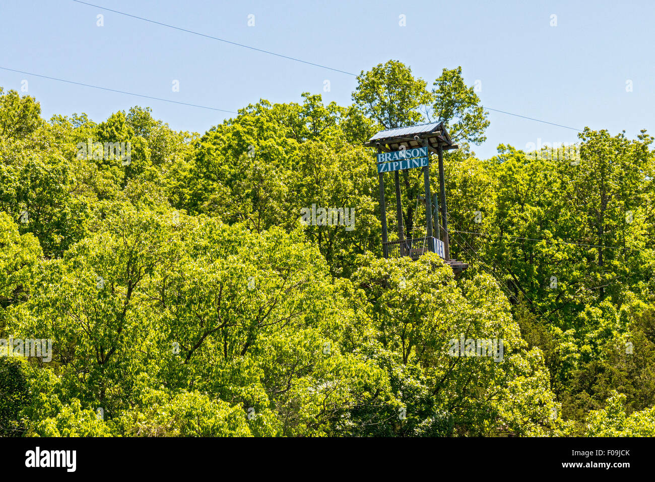 Zipline adventure at Branson Zipline Canopy Tours in Branson, MO. Stock Photo