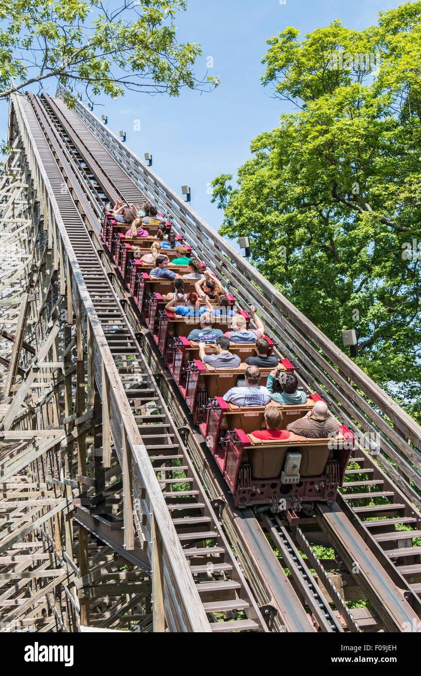 Outlaw Run, the world's only double-barrel roll wooden coaster (thanks to steel topping on the rails), at Silver - Stock Image