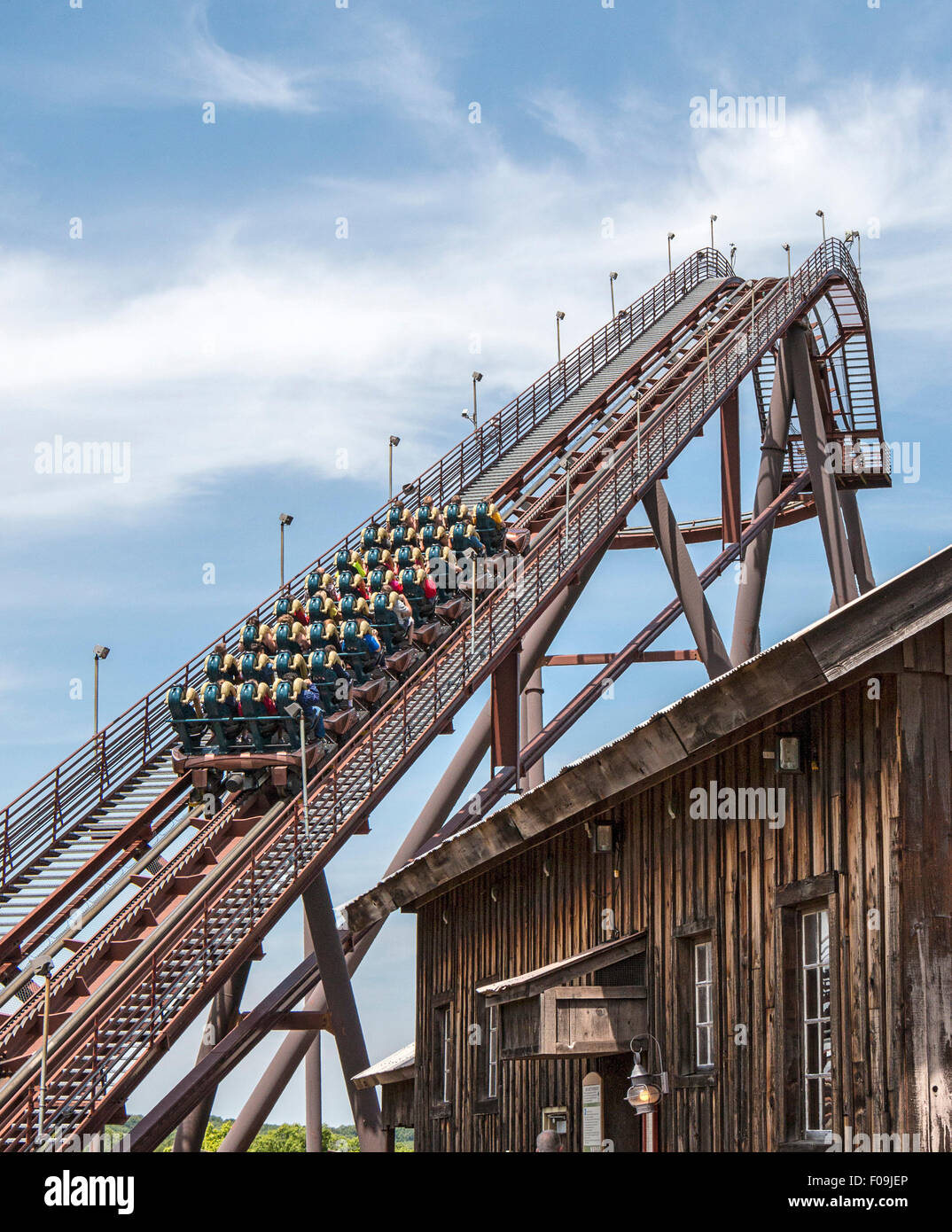 Wildfire, 12 story steel coaster with a top speed of 66 miles per hour and five loops, rolls and corkscrews, Silver - Stock Image
